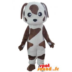 Maskotti valkoinen ja ruskea koira, täplikäs - MASFR22823 - koira Maskotteja