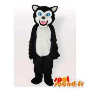 Mascotte zwart en wit husky. wolf hond kostuum - MASFR006530 - Dog Mascottes