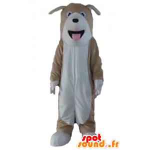 Mascot Hund tricolor, braun, weiß und schwarz - MASFR22824 - Hund-Maskottchen