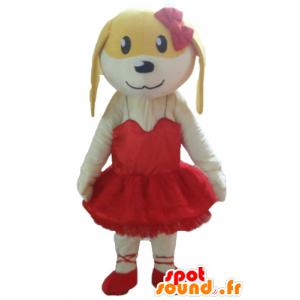 Weiße und gelbe Hund Maskottchen im roten Kleid - MASFR22828 - Hund-Maskottchen