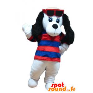 Maskottchen-weißen und schwarzen Hund mit einem gestreiften Pullover - MASFR22833 - Hund-Maskottchen