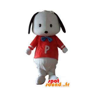 Mascotte zwart en wit puppy met een rood shirt - MASFR22834 - Dog Mascottes