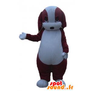 Bruine en witte hond mascotte, mollig en schattig - MASFR22838 - Dog Mascottes
