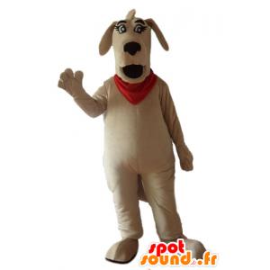 Maskotka duży brązowy pies z czerwonym szalikiem - MASFR22841 - dog Maskotki