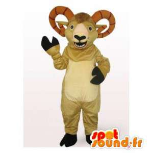 Ram mascotte beige con grandi corna - MASFR006531 - Mascotte toro