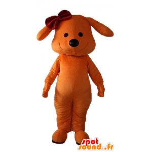 Maskotka pies pomarańczowy, uśmiechnięta, z węzłem na głowie - MASFR22842 - dog Maskotki