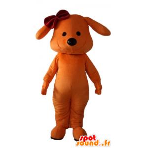 Oranssi koira maskotti, hymyilee, jossa solmu päähän - MASFR22842 - koira Maskotteja
