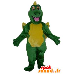Mascotte de dragon vert et jaune, géant - MASFR22848 - Mascotte de dragon