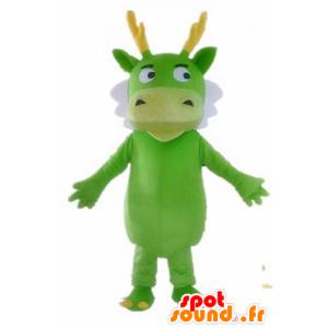 Green dragon mascot, white and yellow, green creature - MASFR22849 - Dragon mascot