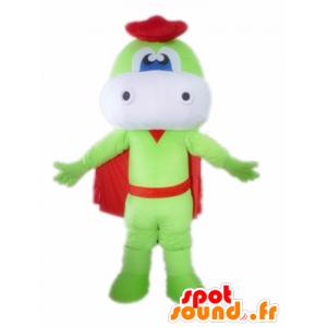 Grønn og hvit drage maskot, med en kappe og en beret - MASFR22850 - dragon maskot