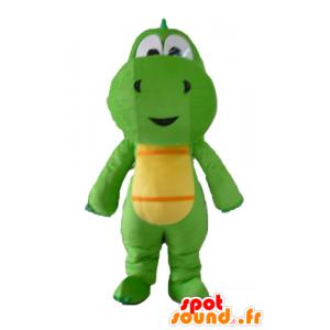 Maskottchen grüne und gelbe Dinosaurier, Drachen - MASFR22851 - Maskottchen-Dinosaurier