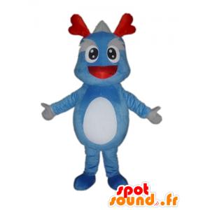 Maskottchen-Blau und Grau Dinosaurier, Riese Drachen - MASFR22853 - Maskottchen-Dinosaurier
