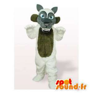 Grå ulvmaskot, brun og hvid - Spotsound maskot kostume