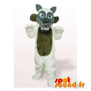 Mascotte de loup gris, marron et blanc