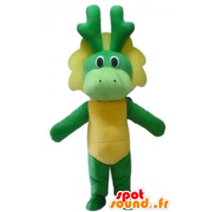 Maskotti vihreä ja keltainen dinosaurus, lohikäärme - MASFR22854 - Dinosaur Mascot