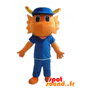 Dinosaur mascotte, oranje draak, gekleed in het blauw - MASFR22859 - Dinosaur Mascot