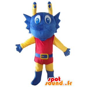 Blue dragon mascot, dressed in yellow and red knight