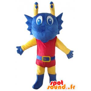 Mascotte de dragon bleu, jaune et rouge habillé en chevalier
