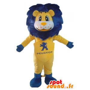 Mascotte de lion blanc et jaune, avec une crinière bleue - MASFR22861 - Mascottes Lion
