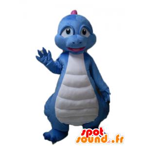 Dinosaur Maskottchen blau, weiß und rosa Drache - MASFR22862 - Maskottchen-Dinosaurier