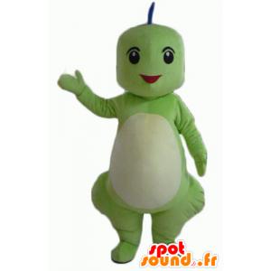 Green dragon mascot, blue and orange, smiling - MASFR22864 - Dragon mascot