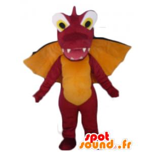 Mascotte de dragon rouge, orange et noir, géant et impressionnant - MASFR22865 - Mascotte de dragon