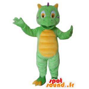 Maskotti pieni vihreä ja keltainen lohikäärme, söpö ja värikäs - MASFR22867 - Dragon Mascot