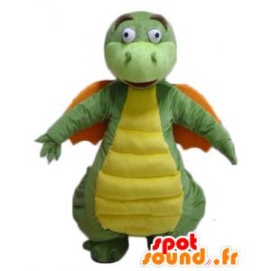 Mascotte de dragon vert, jaune et orange, à l'air drôle - MASFR22871 - Mascotte de dragon