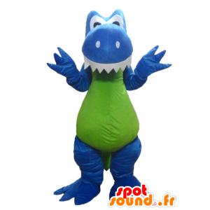 Dinosaur Maskottchen, drache, blau, weiß und grün - MASFR22882 - Maskottchen-Dinosaurier