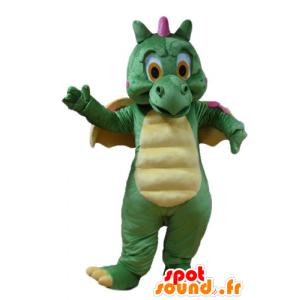 Grüner Drache-Maskottchen, gelb und rosa, niedliche und bunte - MASFR22886 - Dragon-Maskottchen