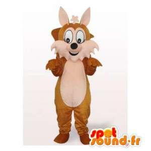 Mascot esquilo castanho e branco, com uma cauda gigante