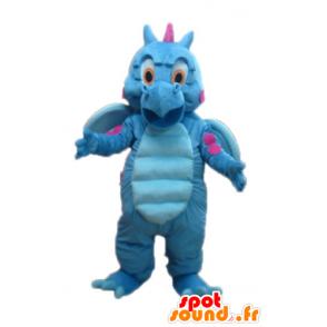 Blå og lyserød drage maskot, sød og farverig - Spotsound maskot