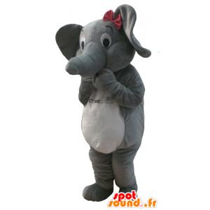 Mascot grauen und weißen Elefanten mit einem Schmetterling Knoten