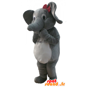 Mascotte d'éléphant gris et blanc, avec un nœud de papillon