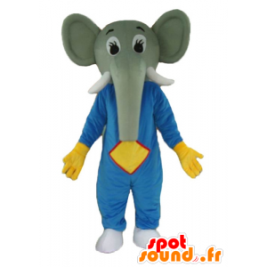 Mascot elephant gray, blue and yellow dress