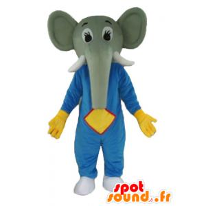Mascotte d'éléphant gris, en tenue bleue et jaune