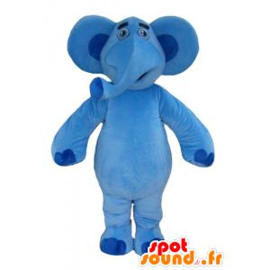 Mascote grande elefante azul muito amigável