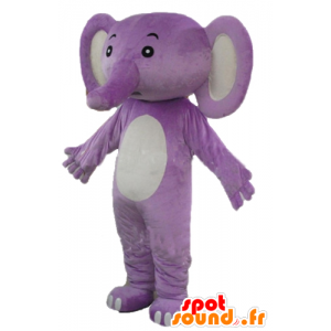 Paarse en witte olifant mascotte