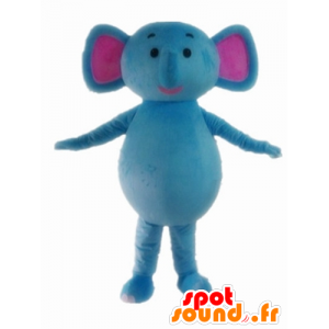 Mascot blauw en roze olifant, leuk en kleurrijk