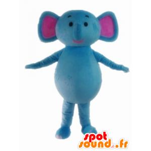 Maskotti sininen ja vaaleanpunainen elefantti, söpö ja värikäs