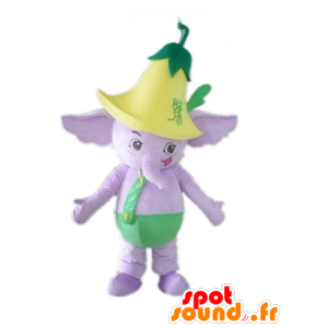 Mascota del elefante púrpura, vestido de verde, con una flor