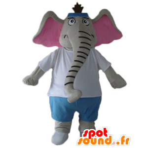 Mascot elephant gray and pink, blue and white outfit