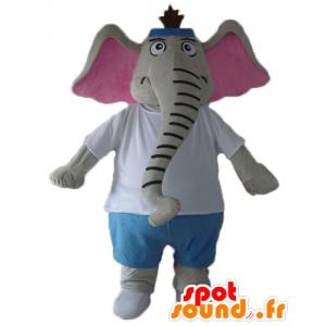 Maskotti harmaa ja pinkki elefantti, sininen ja valkoinen asu