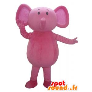 Mascotte d'éléphant rose, entièrement personnalisable