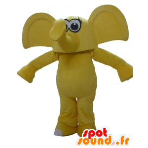 Giallo elefante mascotte, con le grandi orecchie