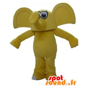 Mascotte d'éléphant jaune, avec de grandes oreilles