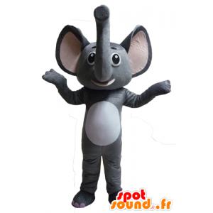 Maskotti harmaa ja valkoinen elefantti, hauska ja omaperäinen