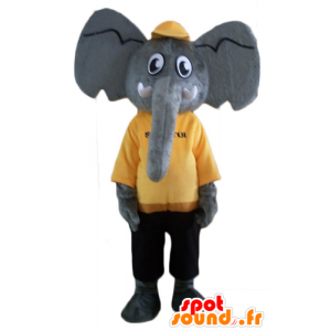 Mascota del elefante gris, amarillo y traje negro
