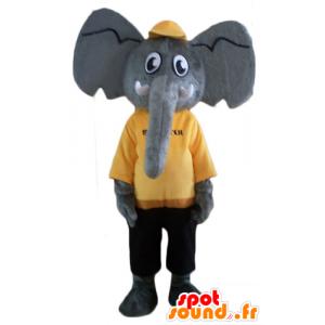 Mascotte d'éléphant gris, en tenue jaune et noire