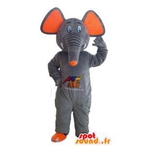 Μασκότ ελέφαντα γκρι και πορτοκαλί, χαριτωμένο και πολύχρωμο